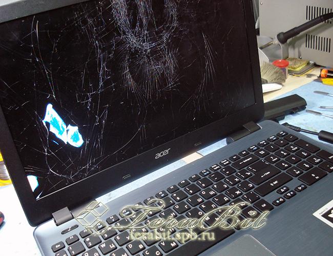 Поврежденная матрица ноутбка Acer Aspire E5-571G.